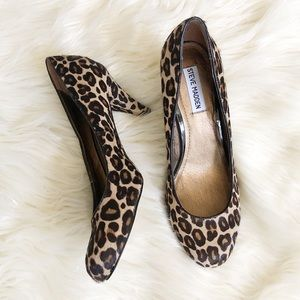 Steve Madden leopard real cow skin shoes size 9